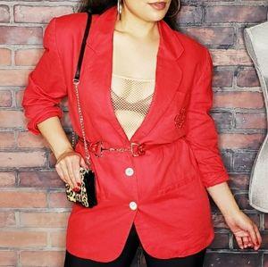 Vintage Dior 90's Linen Embroidered Blazer Red